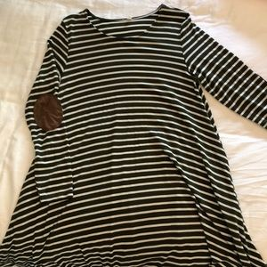 S- striped maternity dress with elbow patch